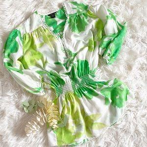 Moda International Silk V Neck Tropical Top